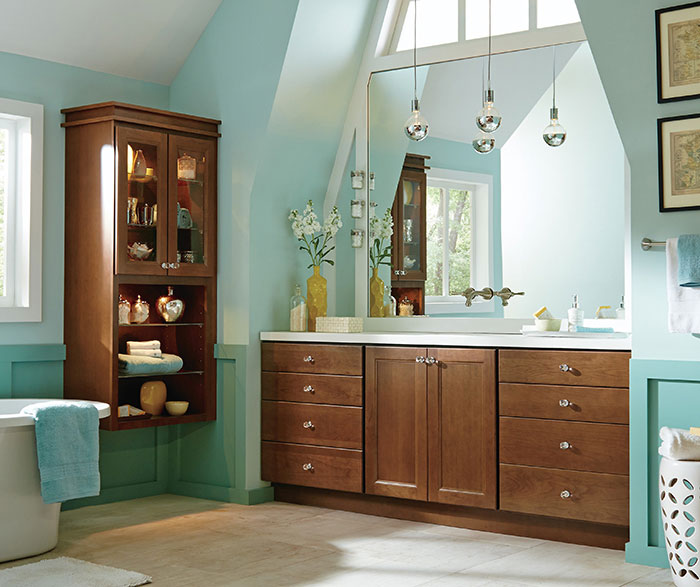 Homecrest_Cabinetry_cherry_cabinets_casual_bathroom. Cabinetry Homecrest